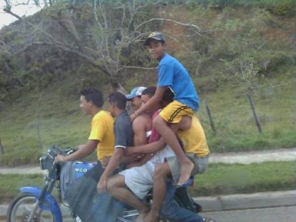 motorbike loaded with kids